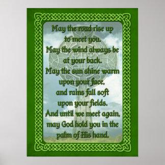 Bendición irlandesa verde póster