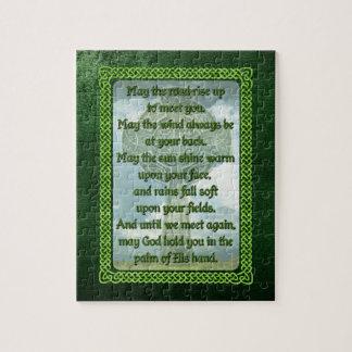 Bendición irlandesa verde puzzle con fotos