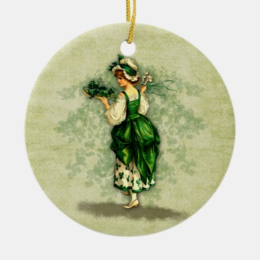 Bendición-Ornamento irlandés Adorno Navideño Redondo De Cerámica
