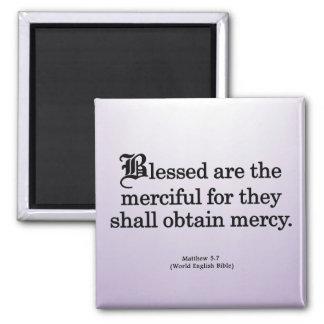 Bendición para la misericordia Matthew 5-7 Imán Cuadrado