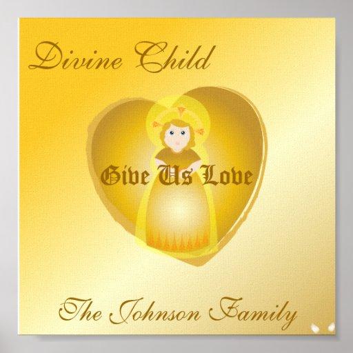 Bendición-Personalizar divino de la familia del ni Póster