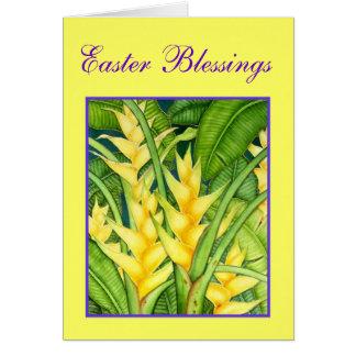 Bendiciones amarillas de Heleconia Pascua Tarjetón