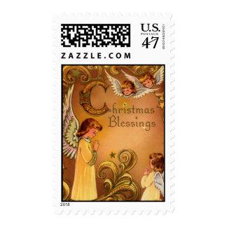 Bendiciones angelicales del navidad timbres postales