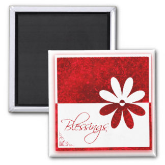 Bendiciones de la cita rojas e imán floral blanco