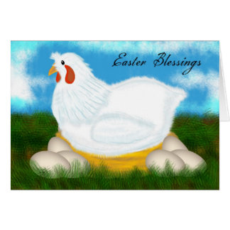 Bendiciones de Pascua con el pollo en una Tarjeta De Felicitación