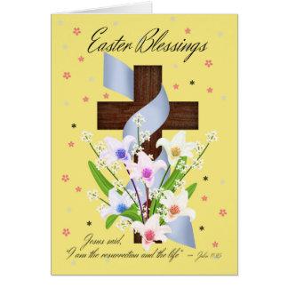 Bendiciones de Pascua - cruz y flores - tarjeta de