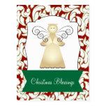 Bendiciones del navidad con el saludo del ángel tarjeta postal