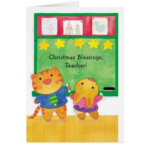 Bendiciones del navidad, profesor tarjeta de felicitación