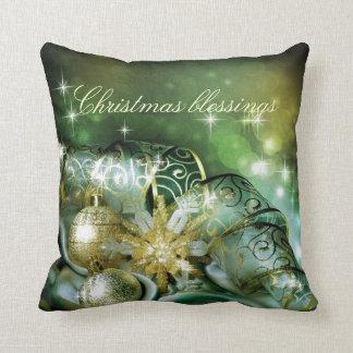 Bendiciones del navidad, verde, oro, brillo, feliz almohadas