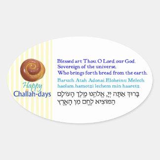 Bendiciones felices del pan de los Jalá-días Pegatina Ovalada