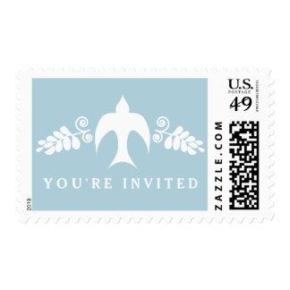 Bendiciones para el muchacho en franqueo azul de sello postal