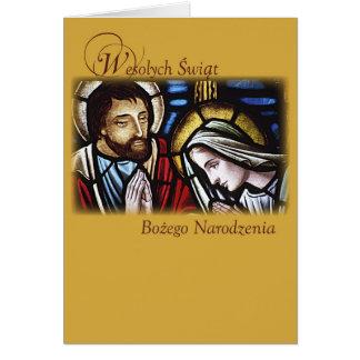 Bendiciones polacas del navidad, familia santa, tarjeta de felicitación