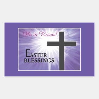 Bendiciones Starburst cruzado de Pascua en la Pegatina Rectangular
