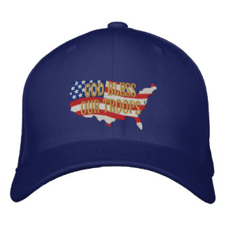 Bendiga a nuestras tropas 2 gorras bordadas