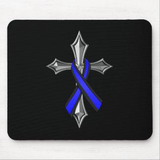 Bendiga la cinta y la cruz finas de Blue Line Alfombrilla De Ratón