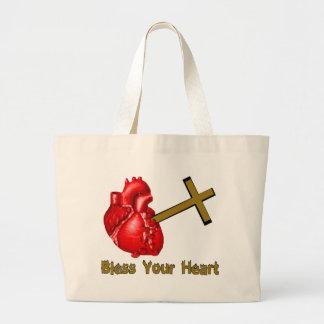 Bendiga su corazón bolsa tela grande