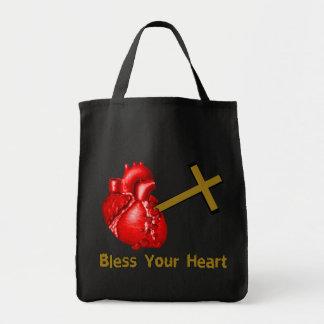 Bendiga su corazón bolsa tela para la compra