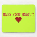 Bendiga su diseño del texto del corazón alfombrilla de ratón
