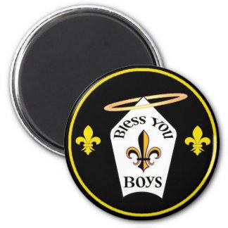 Bendígale emblema de los muchachos imán redondo 5 cm