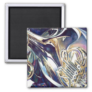 """""""Bending Light"""" Musical Instruments Watercolor 2 Inch Square Magnet"""