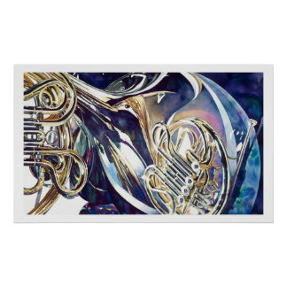 """Bending Light"" Musical Instruments Watercolor Poster"