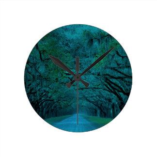 BENDING TREES - ULTRA BLUE ROUND CLOCK
