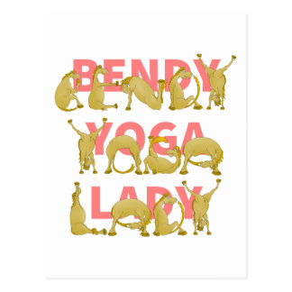 Bendy Yoga Lady Funny Cute Pony Postcard