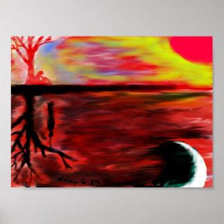 Beneath a tree at dawn poster