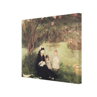 Beneath the Lilac at Maurecourt, 1874 Canvas Print