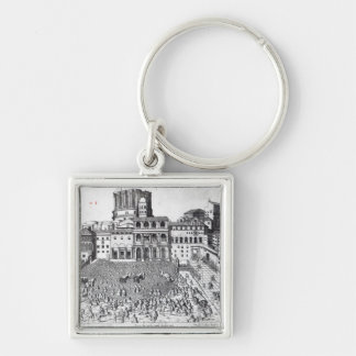 Benediction of The Pope in St.Peter's Square Silver-Colored Square Keychain