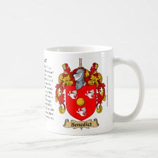 Benedicto, el origen, el significado y el escudo tazas de café