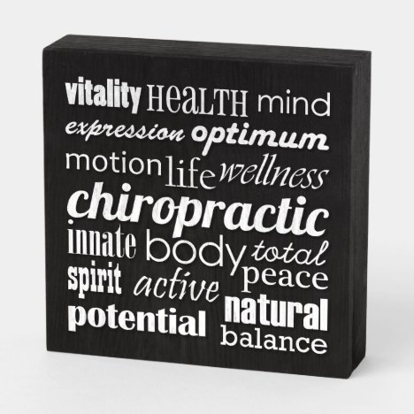 Benefits of Chiropractic Word Collage Chiropractor Wooden Box Sign