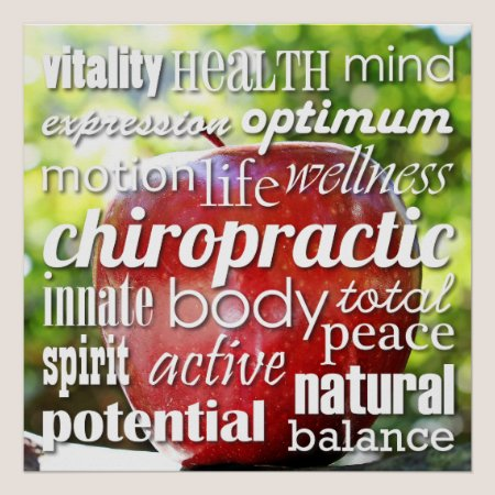 Benefits of Chiropractic Word Collage Poster