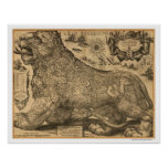 Benelux Leo Belgicus Map of Europe 1611 Poster