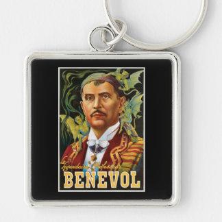 Benevol ~ Italian Magician Vintage Magic Ad Silver-Colored Square Keychain