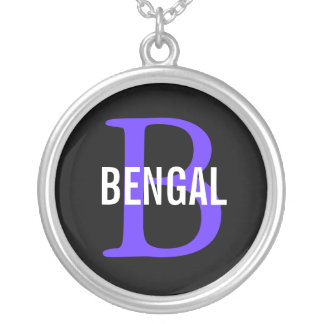 Bengal Breed Monogram Design Silver Plated Necklace