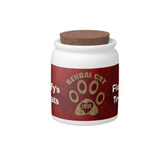 Bengal Cat Breed Personalized Pet Trea Candy Jar