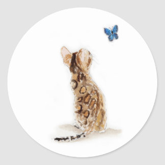 Bengal Cat  & Butterfly Classic Round Sticker