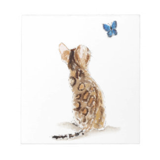 Bengal Cat  & Butterfly Notepad