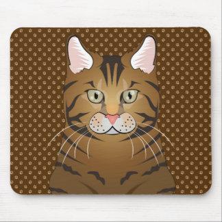 Bengal Cat Cartoon Paws Mouse Pad