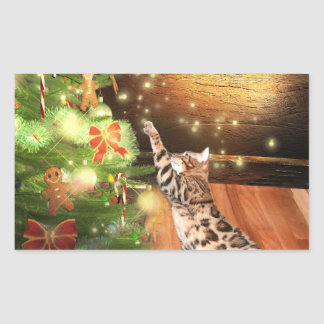Bengal cat Christmas Rectangular Sticker