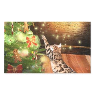 Christmas Themed Bengal cat Christmas Rectangular Sticker