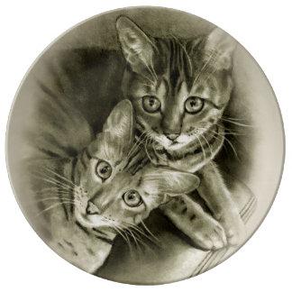 Bengal Cat Couple: Pencil Drawing Porcelain Plate