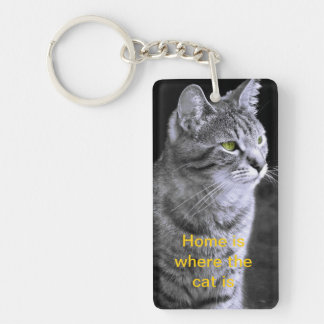 Bengal cat Keyring, Home is where the cat is Keychain