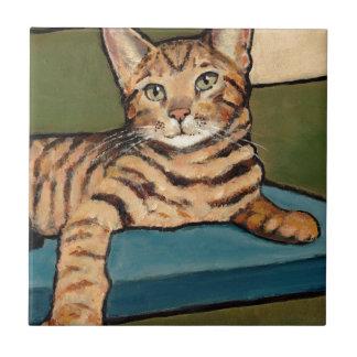 Bengal Cat Looking Up, Original Painting Ceramic Tile