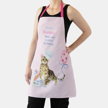 Bengal Cat Mom Who Loves To Bake - Birthday Named Apron