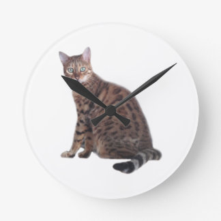 Bengal Cat Wall Clock with gorgeous cat featured