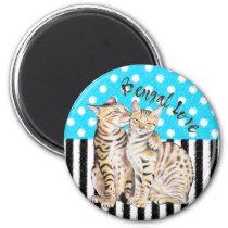 Bengal Cats Love Polka Dot Blue Magnet