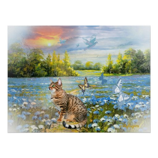Bengal in bed of blue flowers Print