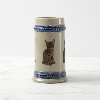 Bengal Kitten, Color Pencil Drawing, Cat 18 Oz Beer Stein